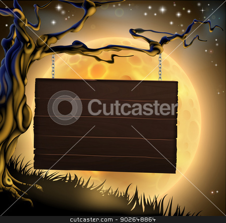 Halloween Tree Sign Background stock vector clipart, A scary Halloween wood sign hanging from a spooky tree ready for your message  by Christos Georghiou