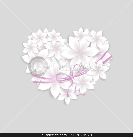 floral heart stock vector clipart, vector flowers studded with heart shaped by Miroslava Hlavacova
