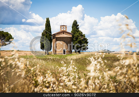 Tuscan country stock photo, Cappella di Vitaleta (Vitaleta Church), Val d'Orcia, Italy.  The most classical image of Tuscan country. by Paolo Gallo