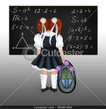 Red-haired schoolgirl stock photo, Little red-haired schoolgirl with a big backpack and flowers. Drawing back to school. by lermannika