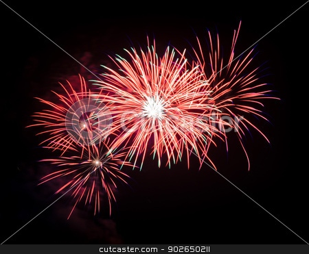 Red fireworks stock photo, Red fireworks in the night sky  by boonsom