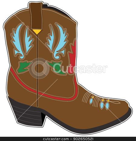 Cowboy Boots Short stock vector clipart, A  single brown short cowboy boot with a fancy design by Maria Bell