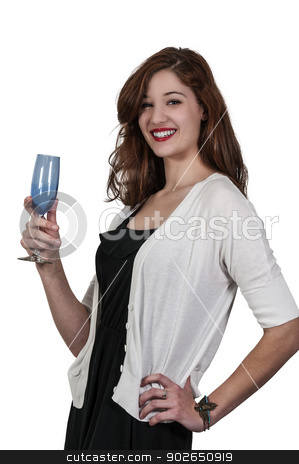Woman with Wine stock photo, Beautiful woman holding a glass of wine by Robert Byron