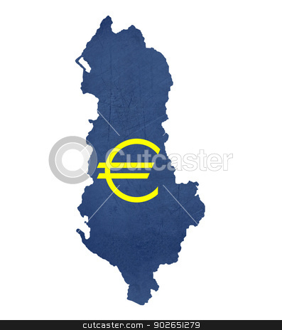 European currency symbol on map of Albania stock photo, European currency symbol on map of Albania isolated on white background. by Martin Crowdy