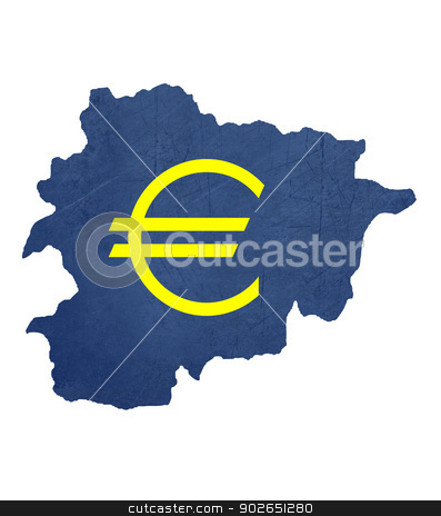 European currency symbol on map of Andorra stock photo, European currency symbol on map of Andorra isolated on white background. by Martin Crowdy