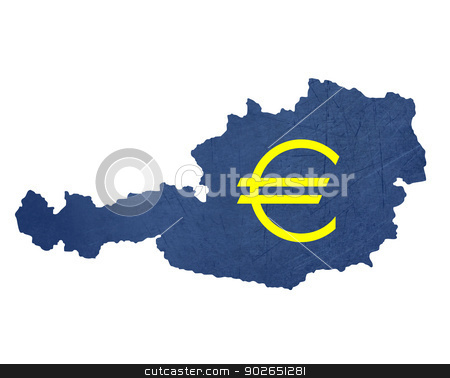European currency symbol on map of Austria stock photo, European currency symbol on map of Austria isolated on white background. by Martin Crowdy