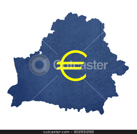 European currency symbol on map of Belarus stock photo, European currency symbol on map of Belarus isolated on white background. by Martin Crowdy