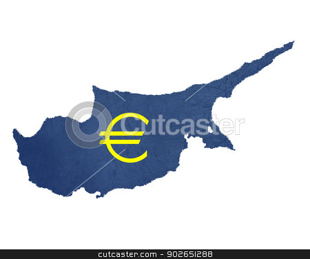European currency symbol on map of Cyprus stock photo, European currency symbol on map of Cyprus isolated on white background. by Martin Crowdy