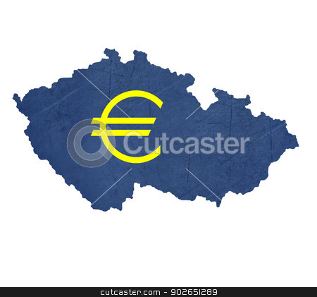 European currency symbol on map of Czech Republic stock photo, European currency symbol on map of Czech Republic isolated on white background. by Martin Crowdy