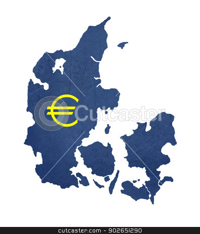 European currency symbol on map of Denmark stock photo, European currency symbol on map of Denmark isolated on white background. by Martin Crowdy