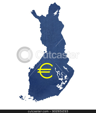 European currency symbol on map of Finland stock photo, European currency symbol on map of Finland isolated on white background. by Martin Crowdy
