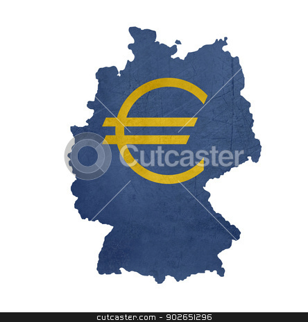 European currency symbol on map of Germany stock photo, European currency symbol on map of Germany isolated on white background. by Martin Crowdy