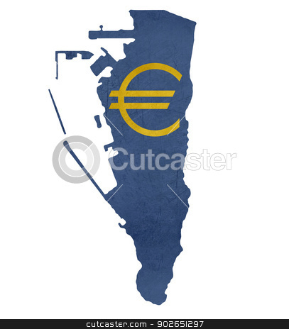European currency symbol on map of Gibraltar stock photo, European currency symbol on map of Gibraltar isolated on white background. by Martin Crowdy