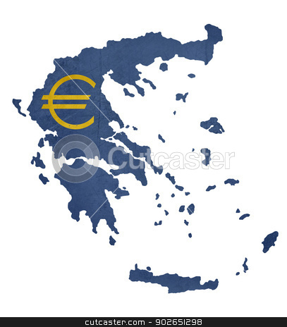 European currency symbol on map of Greece stock photo, European currency symbol on map of Greece isolated on white background. by Martin Crowdy