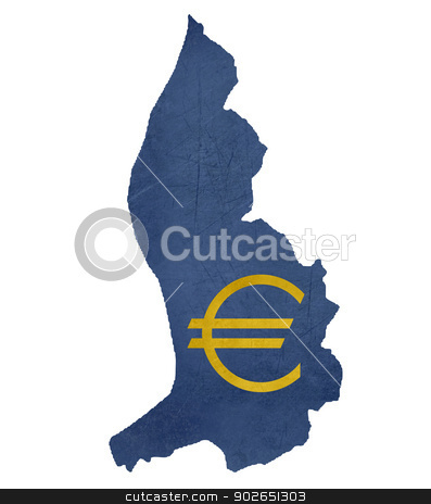 European currency symbol on map of Liechtenstein stock photo, European currency symbol on map of Liechtenstein isolated on white background. by Martin Crowdy