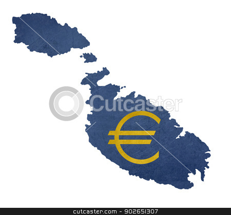 European currency symbol on map of Malta stock photo, European currency symbol on map of Malta isolated on white background. by Martin Crowdy