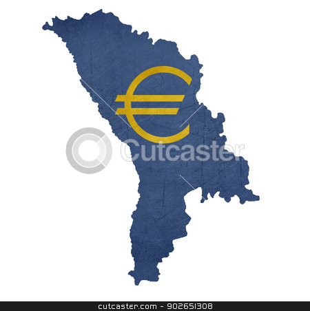 European currency symbol on map of Moldova stock photo, European currency symbol on map of Moldova isolated on white background. by Martin Crowdy