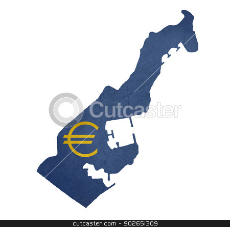 European currency symbol on map of Monaco stock photo, European currency symbol on map of Monaco isolated on white background. by Martin Crowdy