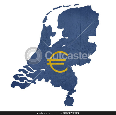 European currency symbol on map of Netherlands stock photo, European currency symbol on map of Netherlands isolated on white background. by Martin Crowdy