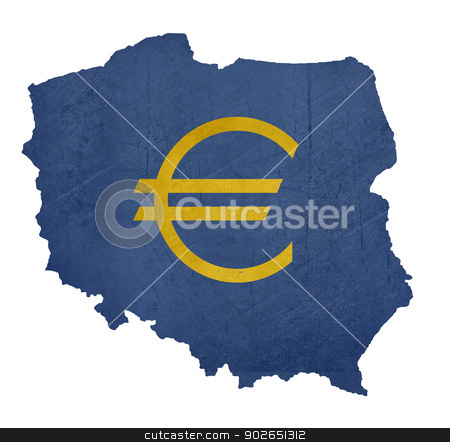 European currency symbol on map of Poland stock photo, European currency symbol on map of Poland isolated on white background. by Martin Crowdy