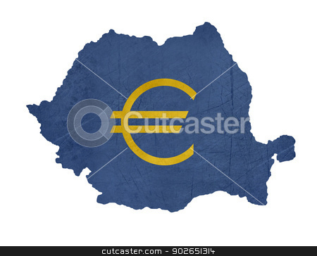 European currency symbol on map of Romania stock photo, European currency symbol on map of Romania isolated on white background. by Martin Crowdy