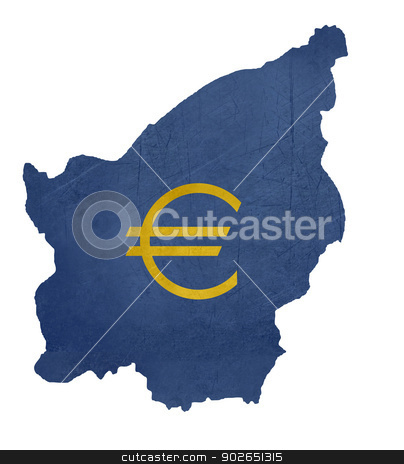 European currency symbol on map of San Marino stock photo, European currency symbol on map of San Marino isolated on white background. by Martin Crowdy
