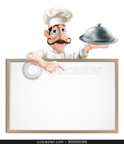 Chef with platter pointing at sign stock vector clipart, Illustration of a chef character holding a cloche and pointing down at a sign by Christos Georghiou