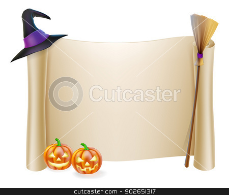 Halloween Scroll Background stock vector clipart, Halloween background scroll sign with witch hat, broomstick and carved orange pumpkins  by Christos Georghiou