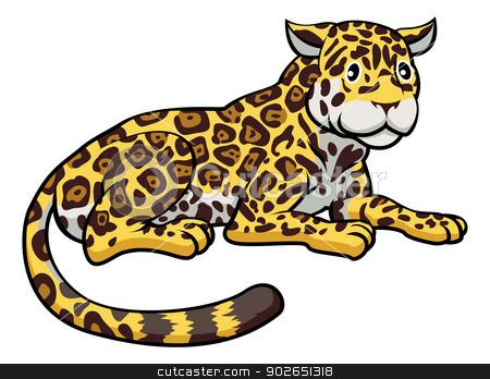 Cartoon Jaguar Cat stock vector clipart, An illustration of a happy cute cartoon Jaguar by Christos Georghiou