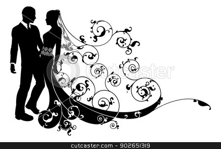 Bride and groom wedding couple silhouette stock vector clipart, An illustration of a bride and groom wedding couple in silhouette with beautiful bridal dress and abstract floral pattern. Could be having their first dance.  by Christos Georghiou