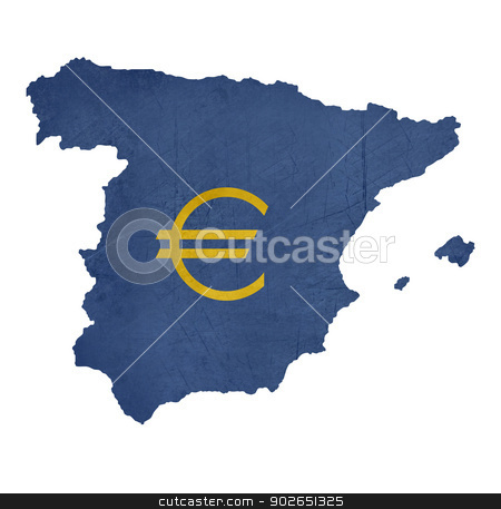 European currency symbol on map of Spain stock photo, European currency symbol on map of Spain isolated on white background. by Martin Crowdy