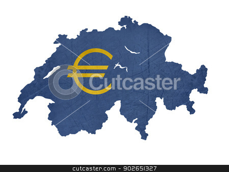 European currency symbol on map of Switzerland stock photo, European currency symbol on map of Switzerland isolated on white background. by Martin Crowdy