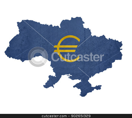 European currency symbol on map of Ukraine stock photo, European currency symbol on map of Ukraine isolated on white background. by Martin Crowdy