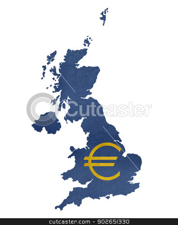European currency symbol on map of United Kingdom stock photo, European currency symbol on map of United Kingdom isolated on white background. by Martin Crowdy