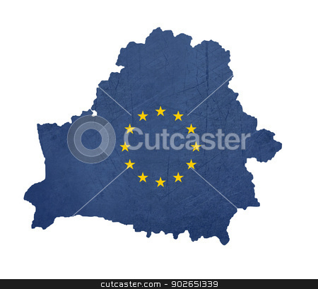 European flag map of Belarus stock photo, European flag map of Belarus isolated on white background. by Martin Crowdy