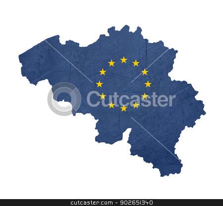 European flag map of Belgium stock photo, European flag map of Belgium isolated on white background. by Martin Crowdy