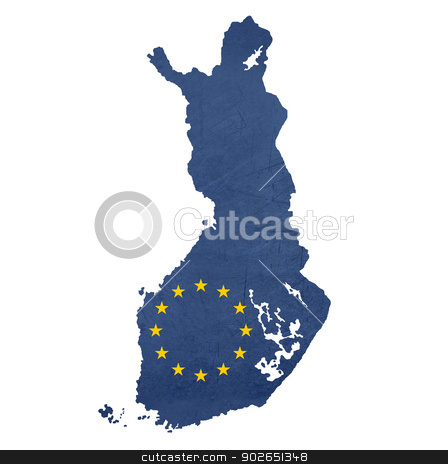 European flag map of Finland stock photo, European flag map of Finland isolated on white background. by Martin Crowdy