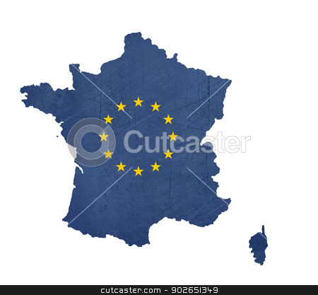 European flag map of France stock photo, European flag map of France isolated on white background. by Martin Crowdy