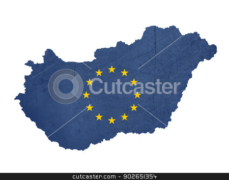 European flag map of Hungary stock photo, European flag map of Hungary isolated on white background. by Martin Crowdy