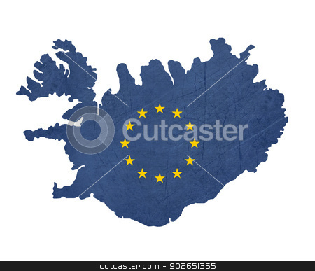 European flag map of Iceland stock photo, European flag map of Iceland isolated on white background. by Martin Crowdy