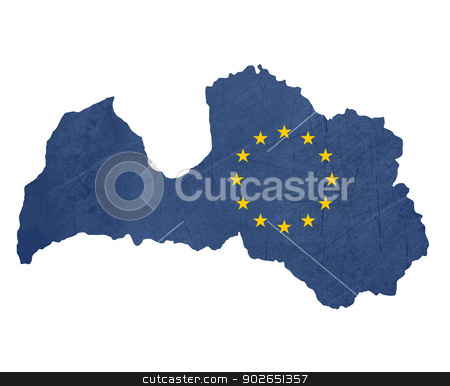 European flag map of Latvia stock photo, European flag map of Latvia isolated on white background. by Martin Crowdy