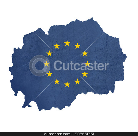 European flag map of Macedonia stock photo, European flag map of Macedonia isolated on white background. by Martin Crowdy