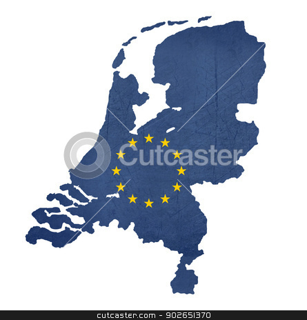 European flag map of Netherlands stock photo, European flag map of Netherlands isolated on white background. by Martin Crowdy