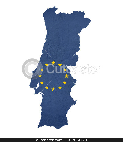 European flag map of Portugal stock photo, European flag map of Portugal isolated on white background. by Martin Crowdy