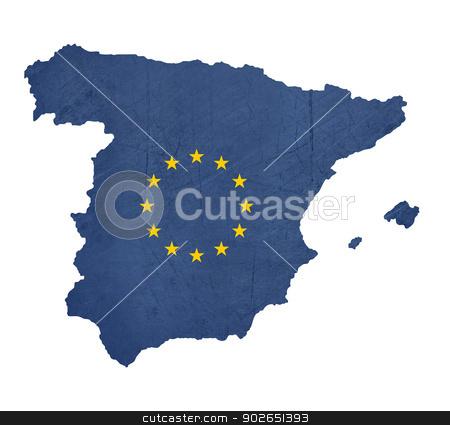 European flag map of Spain stock photo, European flag map of Spain isolated on white background. by Martin Crowdy