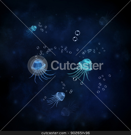 Jellyfish stock photo, Illustration with jellyfish and sea in dark colors. by lermannika
