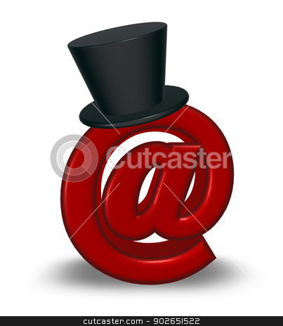 email symbol with topper stock photo, red emailsymbol with black topper - 3d illustration  by J?