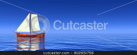 Peaceful sailboat - 3D render stock photo, One small sailboat floating quietly on the ocean by beautiful day by Elenarts