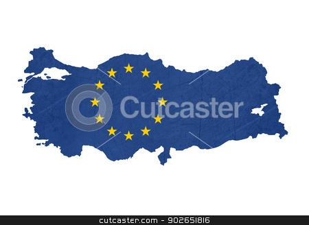 European flag map of Turkey stock photo, European flag map of Turkey isolated on white background. by Martin Crowdy