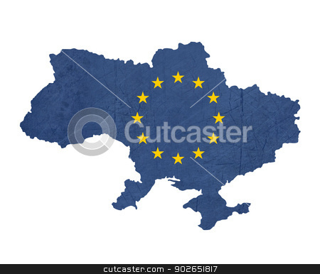 European flag map of Ukraine stock photo, European flag map of Ukraine isolated on white background. by Martin Crowdy